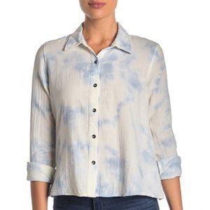 Splendid Cloud Wash Tie Dye Button Up Shirt Top
